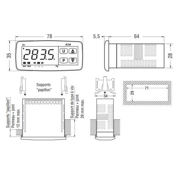 Afficheur mini-programmateur 35 x 78 mm – 230 VAC