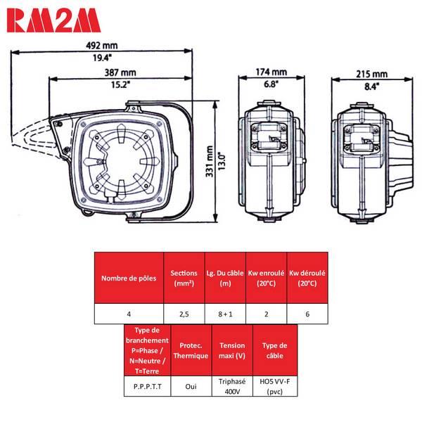 Enrouleur de câble à rappel automatique • Câble 4G2,5 • 9m • Série 280
