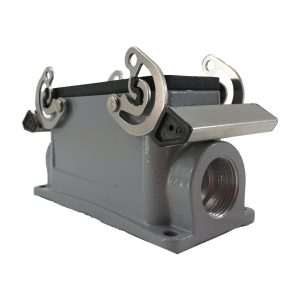 Embase en saillie pour prise 16 broches • 4 verrous • profondeur : 64mm • 1 sortie latérale PG21