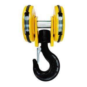 Moufle pour palan 2 réas • Charge 3,2 t (M5) • Entraxe 142 mm • Pour câble Ø 7-8 mm