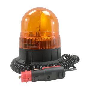 Avertisseur lumineux • Gyrophare compact orange 170 rpm • câble 3m spiralé avec prise allume-cigare