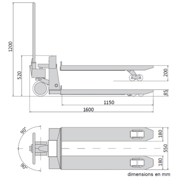 Transpalette peseur 2000 kg