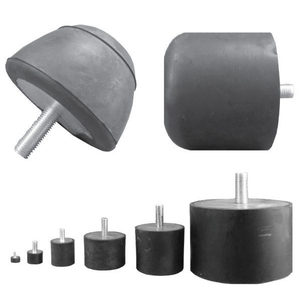 Tampon amortisseur cylindrique caoutchouc Ø16 x 8 mm • Tige filetée M4 x 10 mm