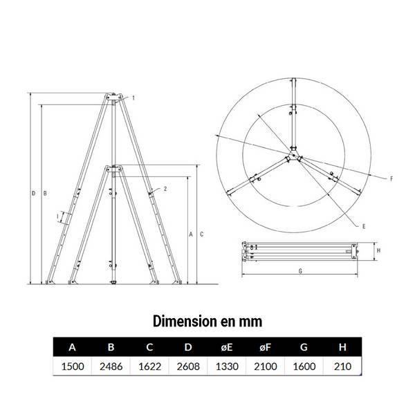 Tripode  250kg levage de 1,5 m à 2,48 m