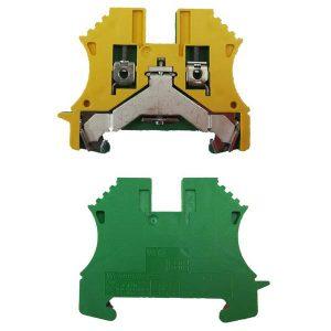 Borne de terre pour montage sur rail oméga pour fil 10 mm² (serrage par vis)