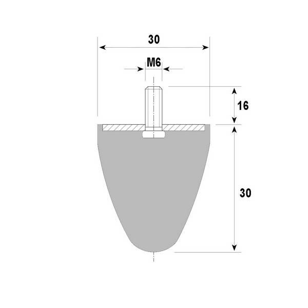 Tampon amortisseur cônique caoutchouc Ø30 x 30 mm • Tige filetée M6 x 16 mm