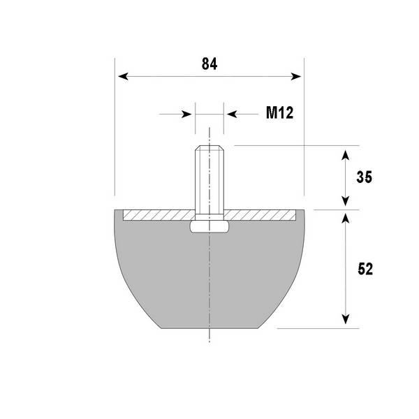 Tampon amortisseur troncônique caoutchouc Ø84/50 x 52 mm • Tige filetée M12 x 35 mm