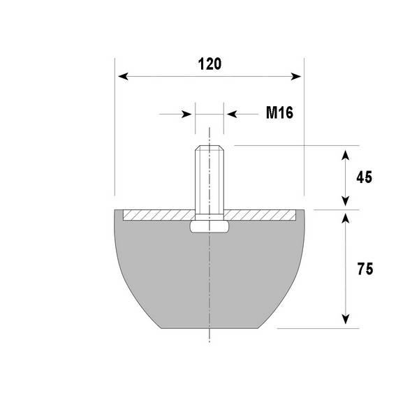 Tampon amortisseur troncônique caoutchouc Ø120/70 x 75 mm • Tige filetée M16 x 45 mm