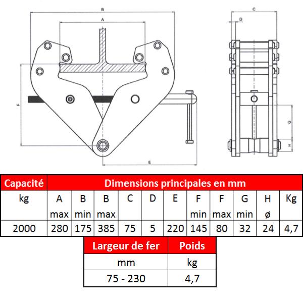Griffe de suspension • 2t • Fer 75 x 230 mm