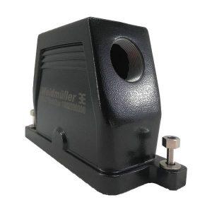 Capot IP 68 pour prise 24 broches • 2 vis • profondeur : 90mm • sortie latérale M40