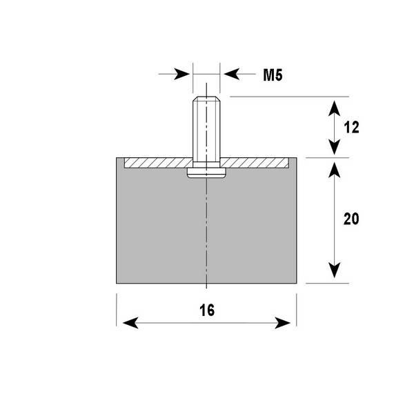Tampon amortisseur Silentbloc Ø16 x 20 mm • Tige filetée M5 x 12 mm