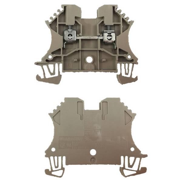 Borne pour montage sur rail oméga pour fil 10 mm² (serrage par vis)