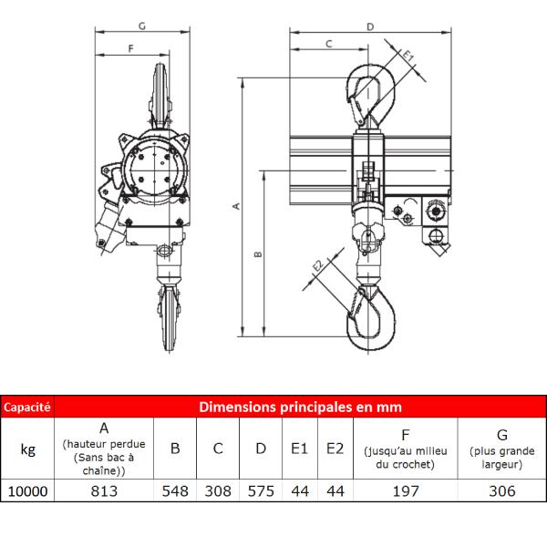 Palan    pneumatique J.D. Neuhaus ATEX • Usage intensif • 10 t