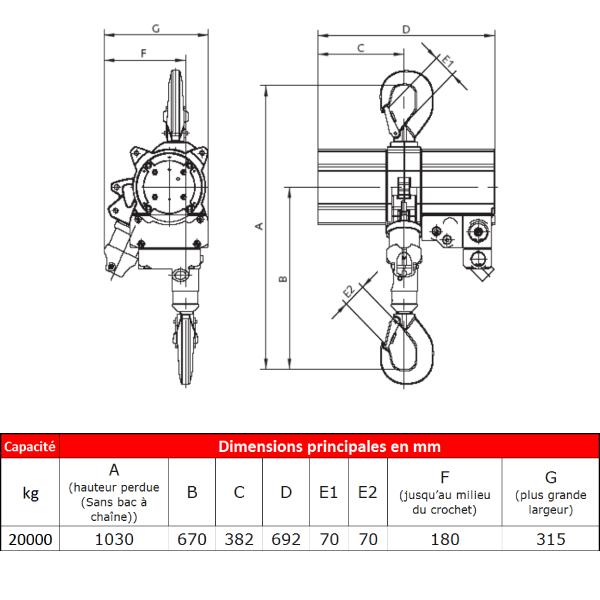 Palan  pneumatique J.D. Neuhaus ATEX • Usage intensif • 20 t