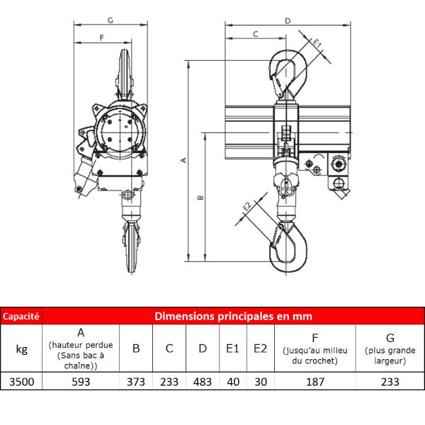 Palan      pneumatique J.D. Neuhaus ATEX • Usage intensif • 3,2t