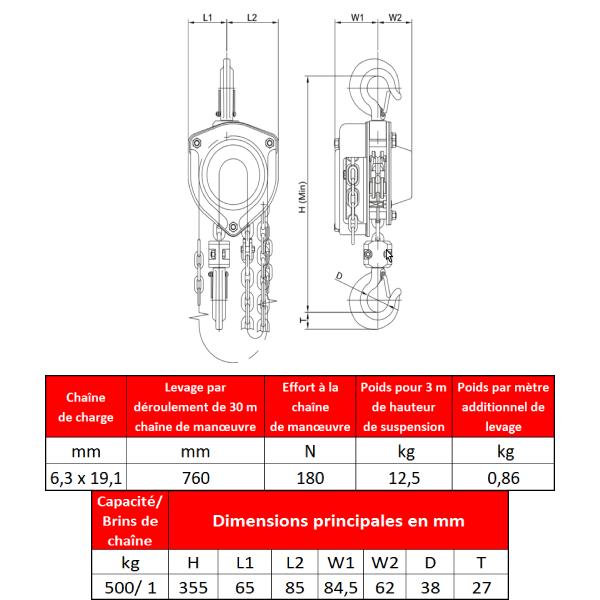 Palan  manuel standard fixe à crochet en inox 500 kg – Pour salle blanche